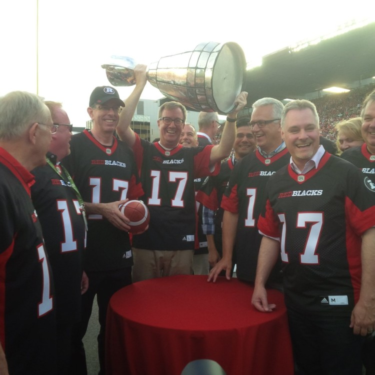 Mayor with Grey Cup